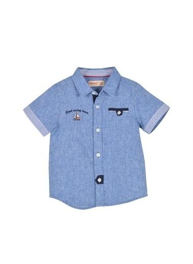 Silversun Kids Erkek Bebek Nakışlı Cep Detaylı Dokuma Gömlek - Gc 115292 Mavi